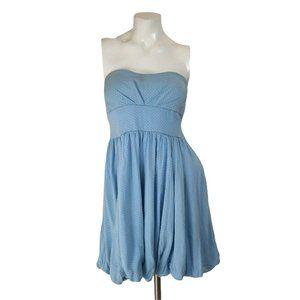 DejaVu Blue Strapless Polka Dot Empire Waist Sweetheart Bubble Dress